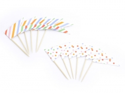 12 Cupcakedekorationen - bunte Fähnchen
