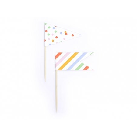 12 cupcake toppers - flags in different colours