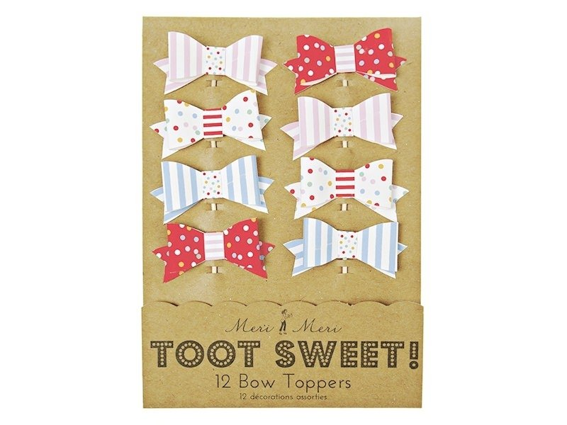 12 cupcake toppers - bows