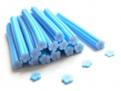 Flower cane - blue, with a red centre