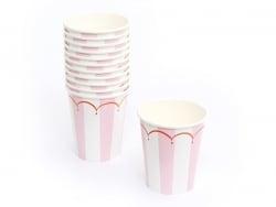 12 Pappbecher - rosafarbene Streifen