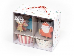 Set de 24 caissettes à cupcakes et 24 toppers - Noël Meri Meri - 1
