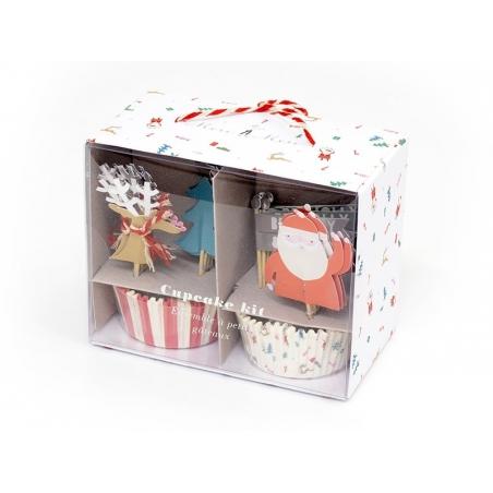 Set de 24 caissettes à cupcakes et 24 toppers - Noël