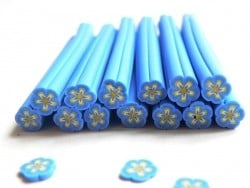 Flower cane - blue and beige