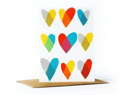 1 card with hearts + envelope