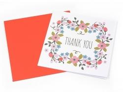 1 carte remerciement + enveloppe - blanche à fleurs