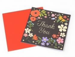 1 carte remerciement + enveloppe - noire à fleurs