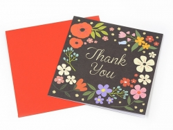 1 thank-you card + envelope - black with flowers