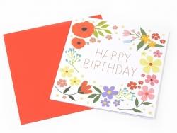 "1 carte ""happy birthday"" + enveloppe - blanche à fleurs"