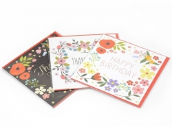 """1 card with the words """"Happy Birthday"""" + envelope - white with flowers"""