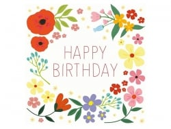 "1 card with the words ""Happy Birthday"" + envelope - white with flowers"