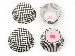 60 Caissettes à cupcakes - noir et blanc