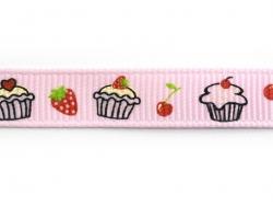 1m ruban gros grain cupcake et fraise rose clair - 10 mm
