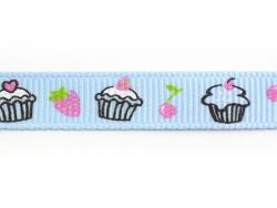1m ruban gros grain cupcake et fraise bleu - 10 mm