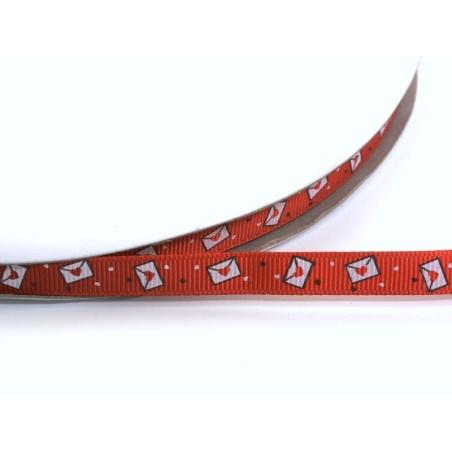 1m ruban gros grain lettre d'amour rouge - 10 mm  - 1