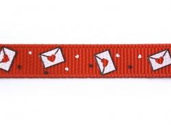 1m ruban gros grain lettre d'amour rouge - 10 mm