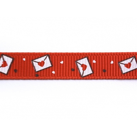 1m ruban gros grain lettre d'amour rouge - 10 mm  - 2