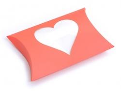 Pochette Cadeau Coeur - orange fluo