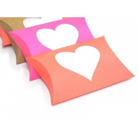 Pillow box with a heart - neon orange