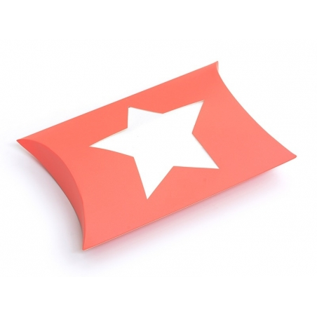 Pillow box with a star - neon orange