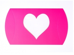 Pillow box with a heart - neon pink