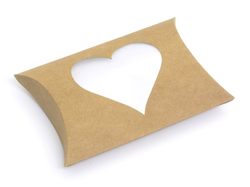 Pillow box with a heart - made of kraft paper