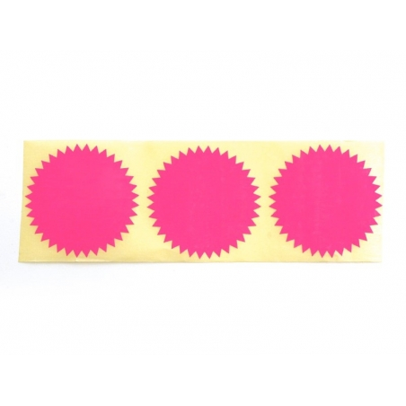 3 star-shaped stickers - neon pink