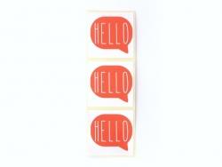 3 étiquettes autocollantes HELLO - Rouge