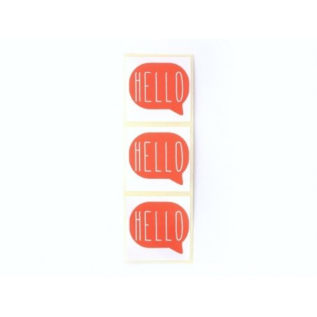 "3 ""Hello"" stickers - red"