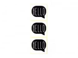 3 étiquettes autocollantes HELLO - Noir