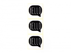 "3 stickers bearing the word ""Hello"" - black"