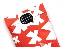 """3 stickers bearing the word """"Hello"""" - black"""