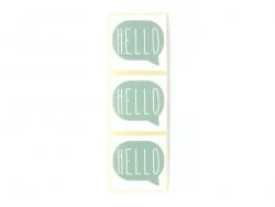 3 étiquettes autocollantes HELLO - Vert d'eau