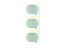 "3 stickers with the word ""Hello"" - sea green"