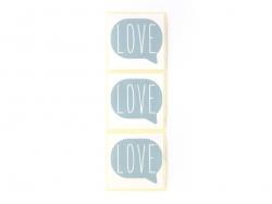 3 étiquettes autocollantes LOVE - Bleu clair
