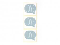 "3 stickers bearing the word ""Love"" - sky blue"