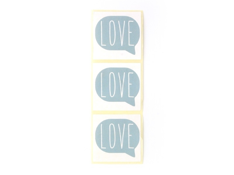 """3 stickers bearing the word """"Love"""" - sky blue"""
