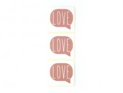 3 étiquettes autocollantes LOVE - Vieux rose