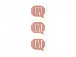 "3 stickers bearing the word ""Love"" - antique pink"