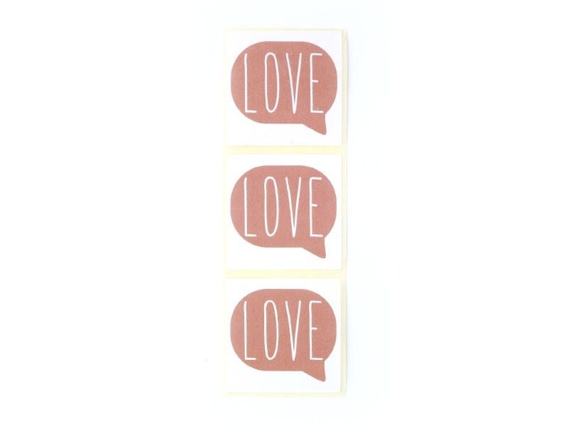 """3 stickers bearing the word """"Love"""" - antique pink"""