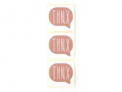 """3 Aufkleber mit der Aufschrift """"Thnx"""" - altrosa"""