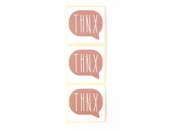 "3 stickers bearing the word ""Thnx"" - antique pink"