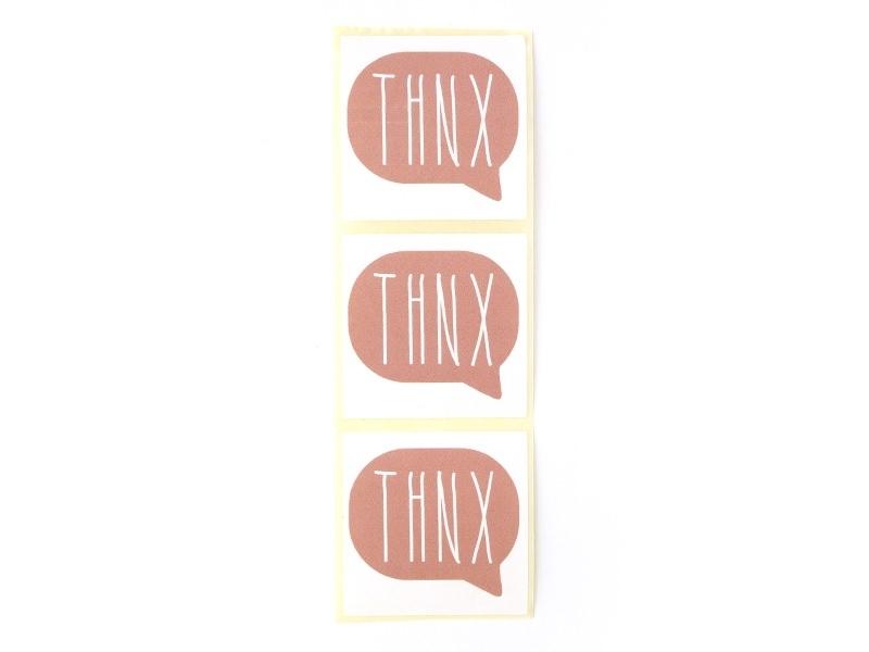 3 étiquettes autocollantes THNX - Vieux rose