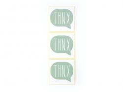 3 étiquettes autocollantes THNX - Vert d'eau