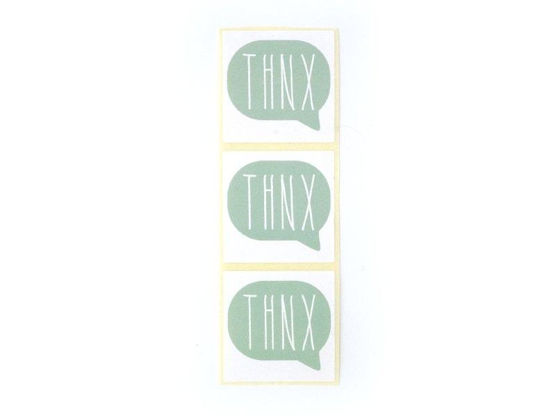 3 étiquettes autocollantes THNX - Vert d'eau Kado Design - 1