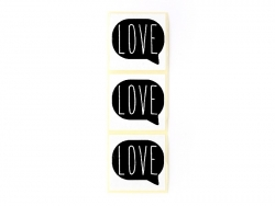 "3 stickers bearing the word ""Love"" - black"