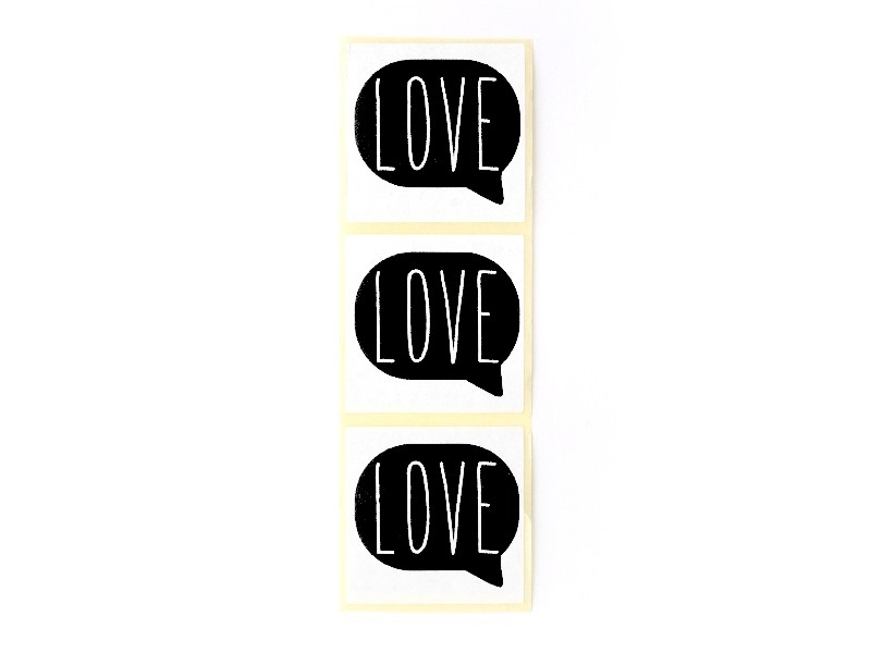 """3 stickers bearing the word """"Love"""" - black"""