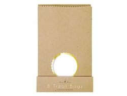 8 kraft paper gift bags with stickers