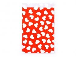 1 pochette cadeau - Rouge à coeurs blancs