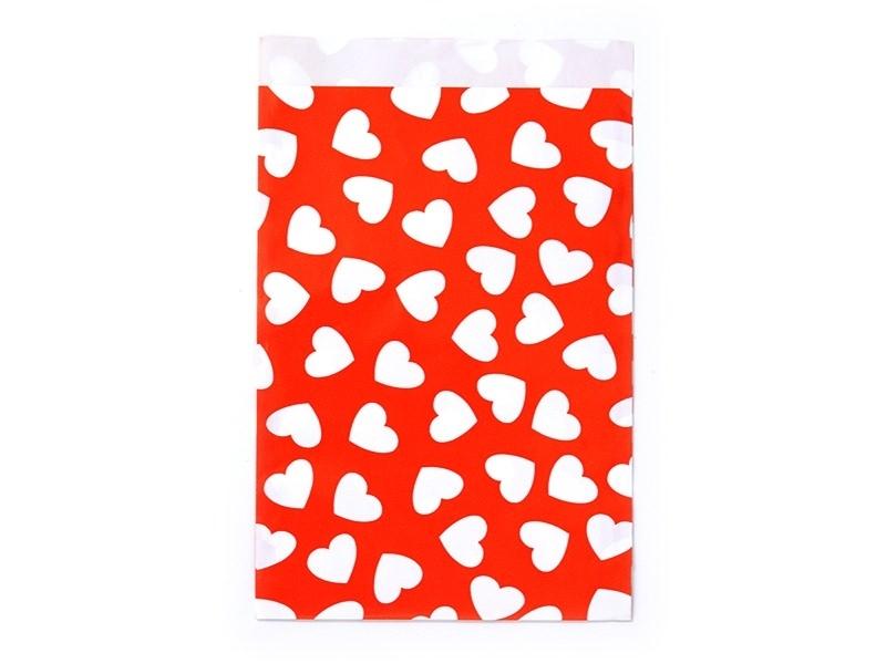 1 pochette cadeau - Rouge à coeurs blancs Kado Design - 1